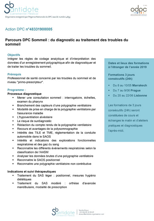 Programme Formation Sommeil